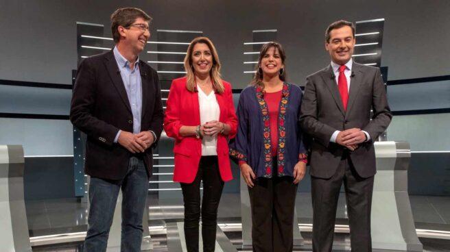 Juan Marín, Susana Díaz, Teresa Rodríguez y Juanma Moreno Bonilla, en el debate andaluz en RTVE