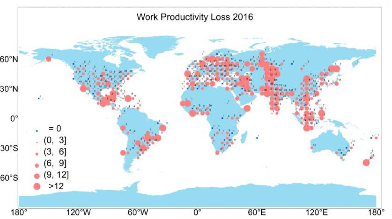 La pérdida de productividad relacionada con el calor (en días) para 2016 (YU Shuang)
