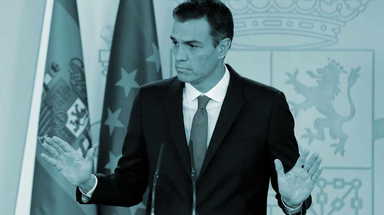 El presidente del Gobierno, Pedro Sánchez, durante la rueda de prensa que ha ofrecido en el Palacio de La Moncloa