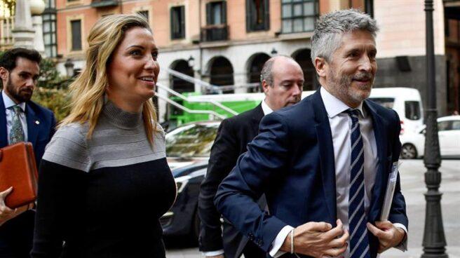 El ministro Fernando Grande Marlaska a su llegada al TSJPV en Bilbao.