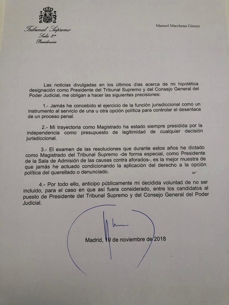 Comunicado de Manuel Marchena.