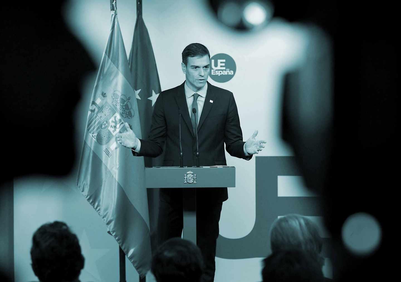 Pedro Sánchez, durante su comparecencia tras la cumbre del Brexit en Bruselas.