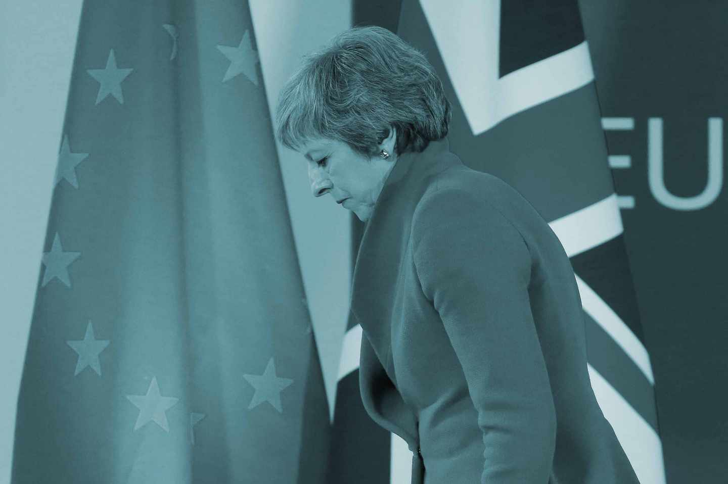 Theresa May, en la cumbre del Brexit en Bruselas.