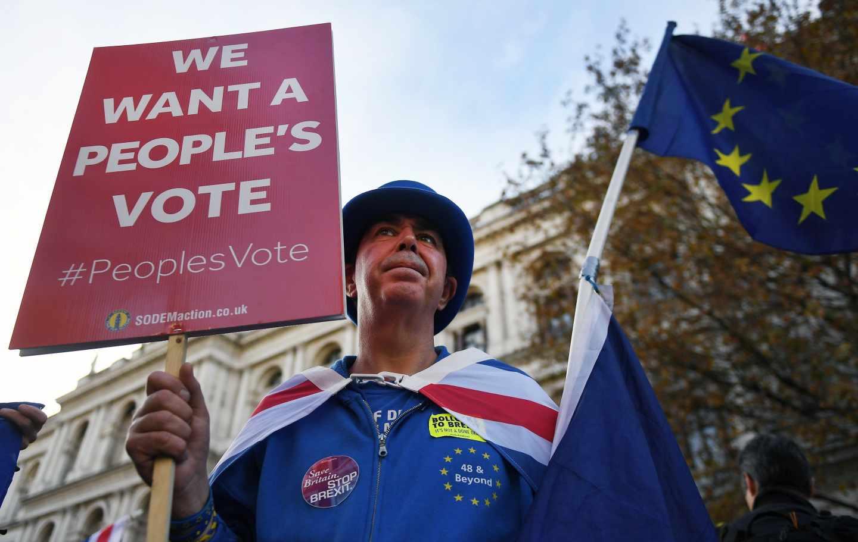 Un manifestante anti Brexit en las calles de Londres.