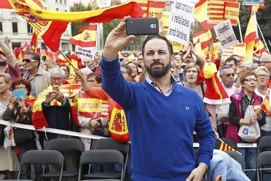 Santiago Abascal el pasado 12-O en una manifestación por la unidad de España