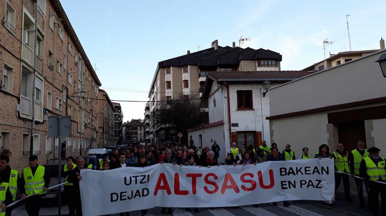 Un momento de la manifestación del sábado en Alsasua.
