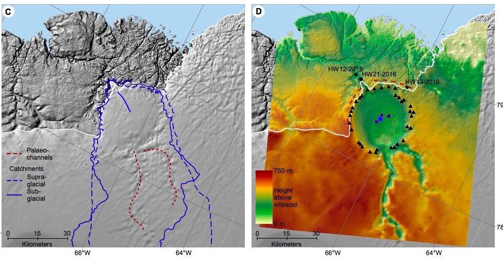 Glaciar Hiawatha, con la depresión propia de un cráter de meteorito