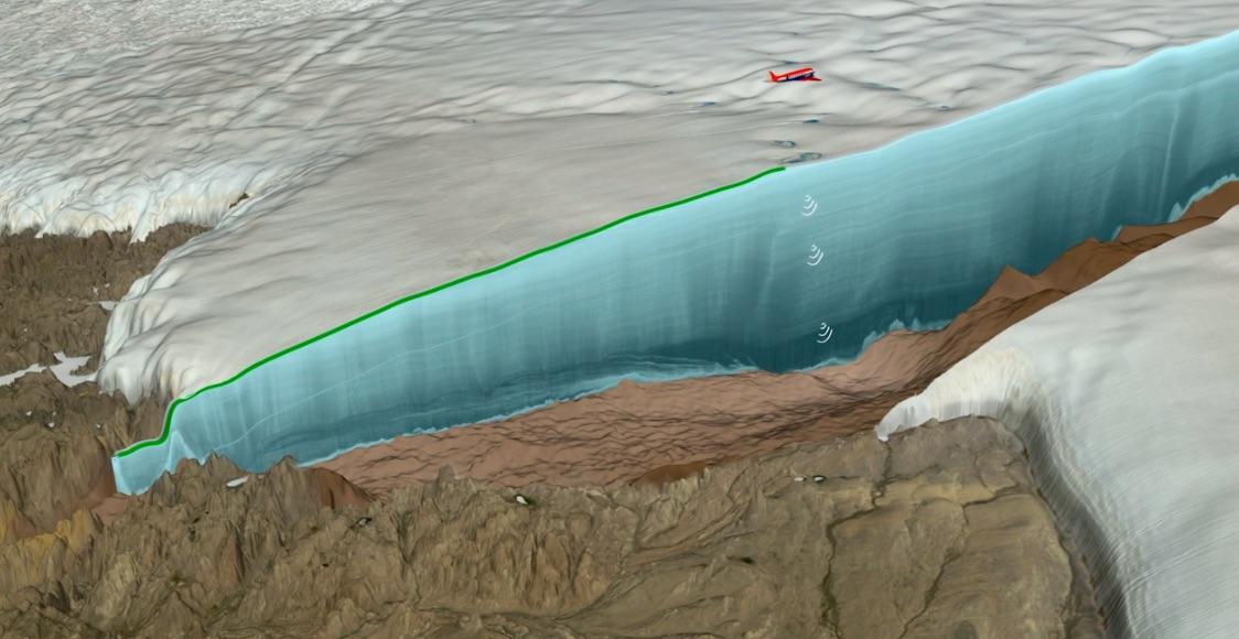 Recreación de un corte del hielo sobre el cráter en Groenlandia