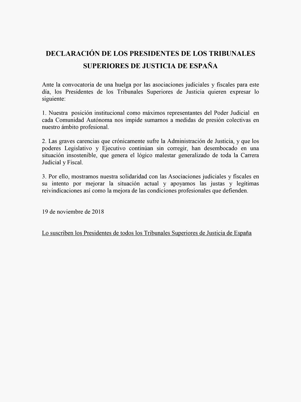 Declaraciones presidentes TSJ