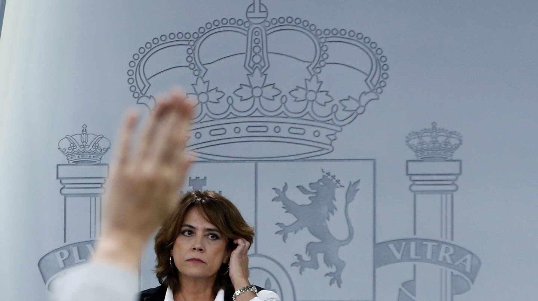 Dolores Delgado, ministra de Justicia, en rueda de prensa posterior al Consejo de Ministros.