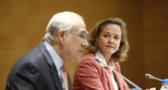 El secretario general de la OCDE, Ángel Gurría, y la ministra de Economía, Nadia Calviño, en la presentación del informe sobre España