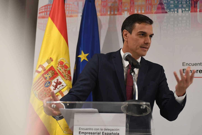 Pedro Sánchez, durante un encuentro con empresarios en su visita a Cuba