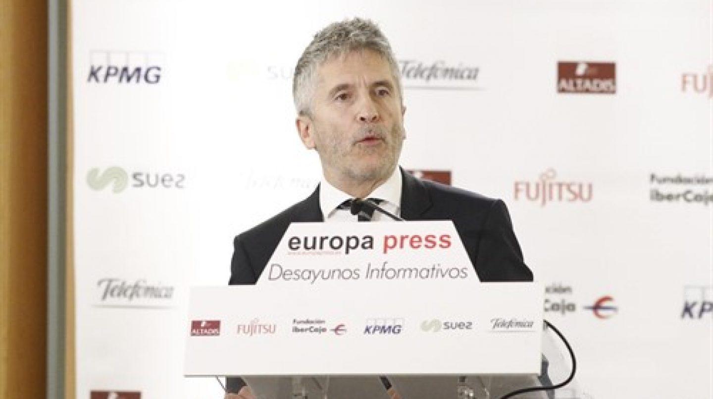 El ministro de Interior, Fernando Grande-Marlaska, en los desayunos de Europa Press.