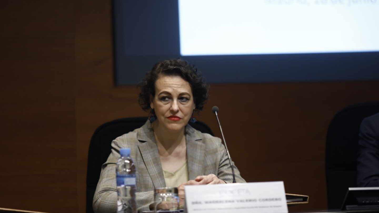 La ministra de Trabajo, Magdalena Valerio, durante un acto público.