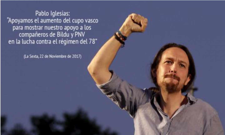 Imagen difundida en un chat de Ciudadanos con una cita falsa sobre Pablo Iglesias.