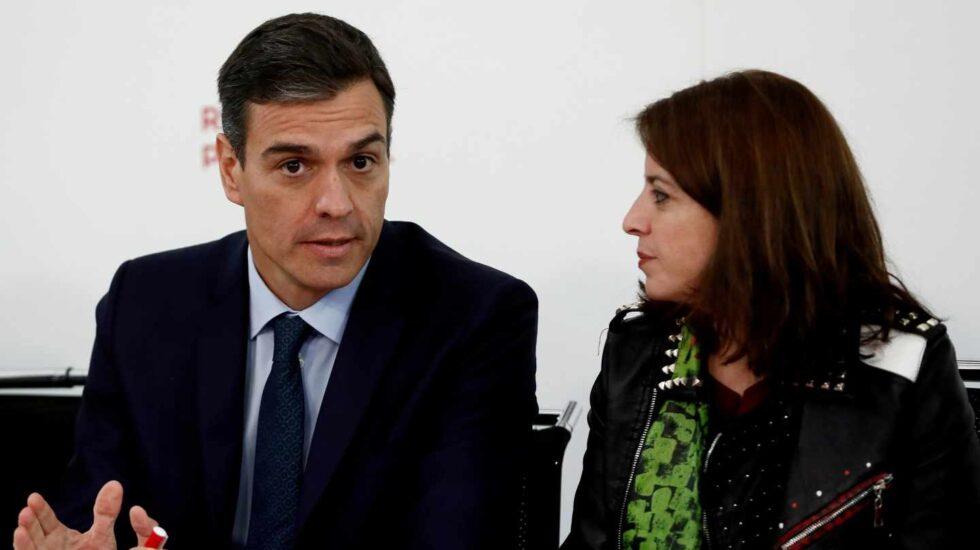 Pedro Sánchez y Adriana Lastra, en Ferraz.