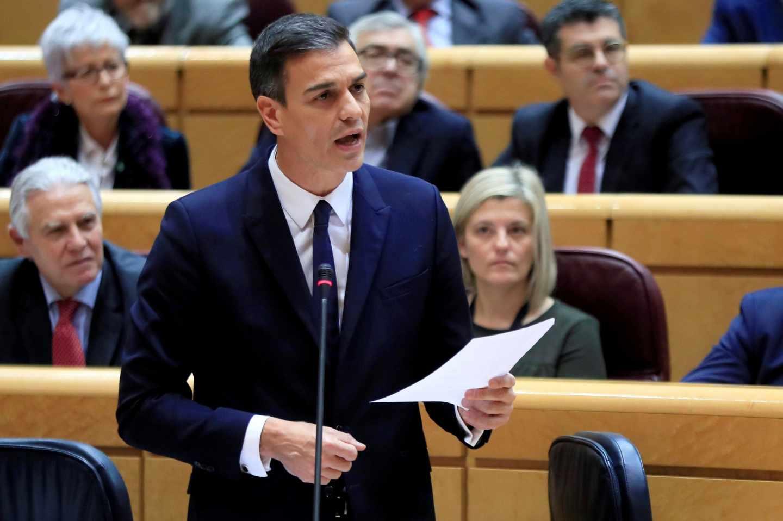 El presidente del Gobierno, Pedro Sánchez, en el Senado.