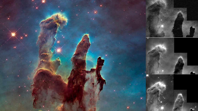 A la izda., la nebulosa de Los Pilares de la Creación, ya procesada. A la derecha, las tres tomas originales del telescopio que sirven para construir la imagen final