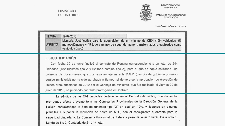 Memoria justificativa de la licitación de 100 vehículos para la Policía Nacional.