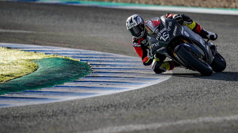 Sete Gibernau estrenó su nueva MotoE en el Circuito de Jerez.