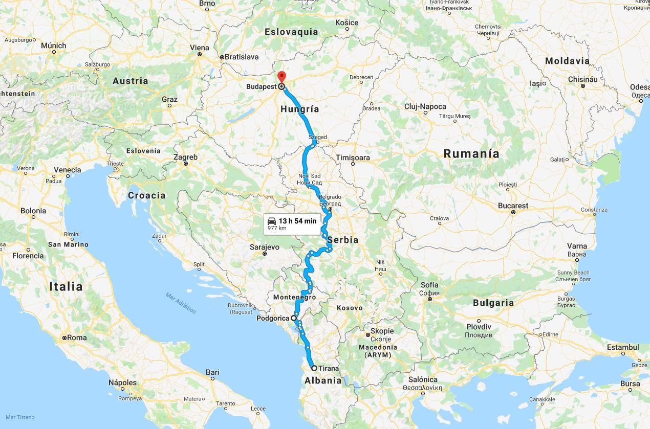 Posible ruta seguida por Gruevski, a través de Montenegro y Serbia, en su huida de Tirana a Budapest.
