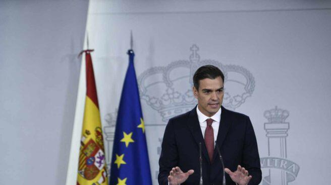 Pedro Sánchez, presidente del Gobierno, durante su comparecencia en Moncloa.