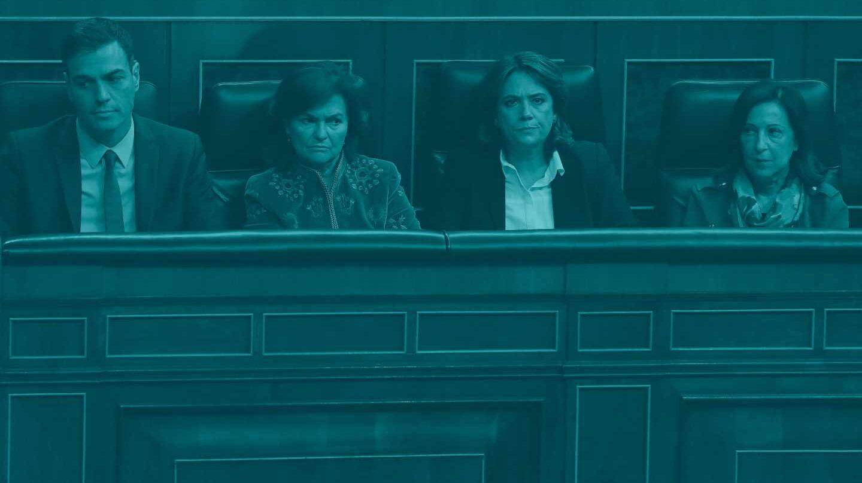 Pedro Sánchez, Carmen Calvo, Dolores Delgado y Margarita Robles.