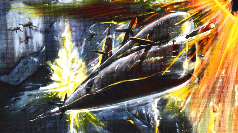 Ilustración de un submarino de los años 50