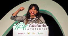 Teresa Rodríguez, en el mitin final de campaña.