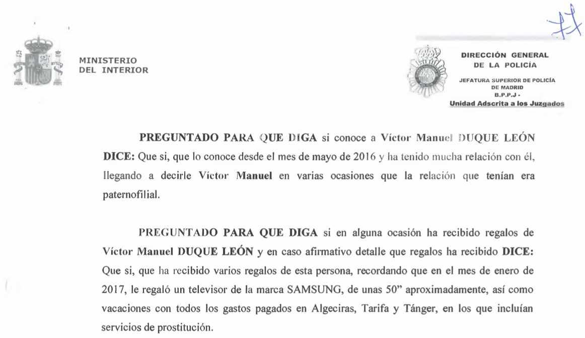 Acta de la declaración del testigo Carlos Roberto F.M. ante la Policía.