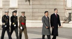 Xi Jinping y Felipe VI, durante la recepción real al presidente de China.