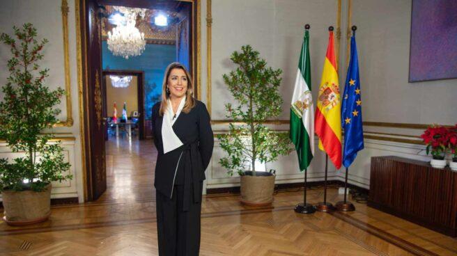 Susana Díaz, durante su mensaje de fin de año como presidenta en funciones de la Junta de Andalucía.