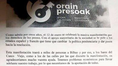 La 'cuota hostelera' de apoyo a los presos de ETA: 20 euros