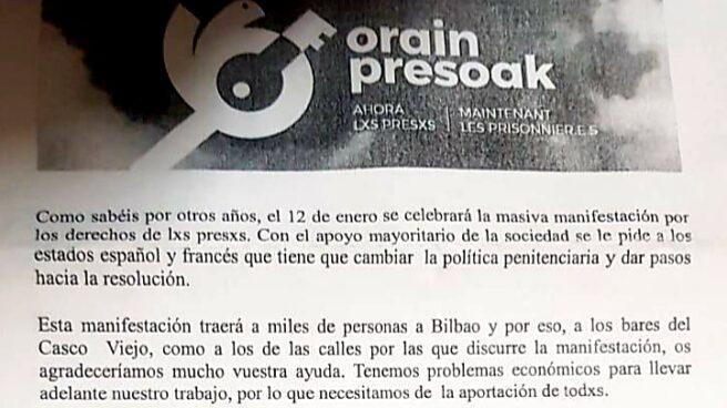 Carta remitida a los locales hosteleros de Bilbao.