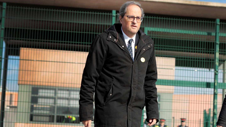 El presidente de la Generalitat, Quim Torra, a su salida del centro penitenciario de Lledoners tras visitar a los independentistas encarcelados.