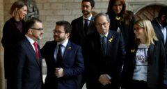 Bosch, Aragonés, Torra y Artadi, en el Palau de la Generalitat.