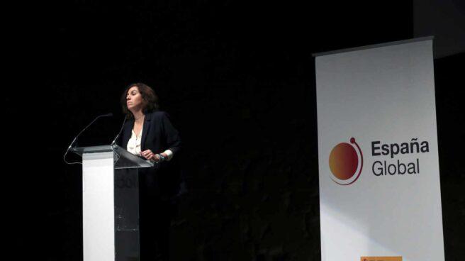 """La secretaria de Estado de la España Global, Irene Lozano, durante su intervención en la presentación del vídeo """"This is the real Spain""""."""