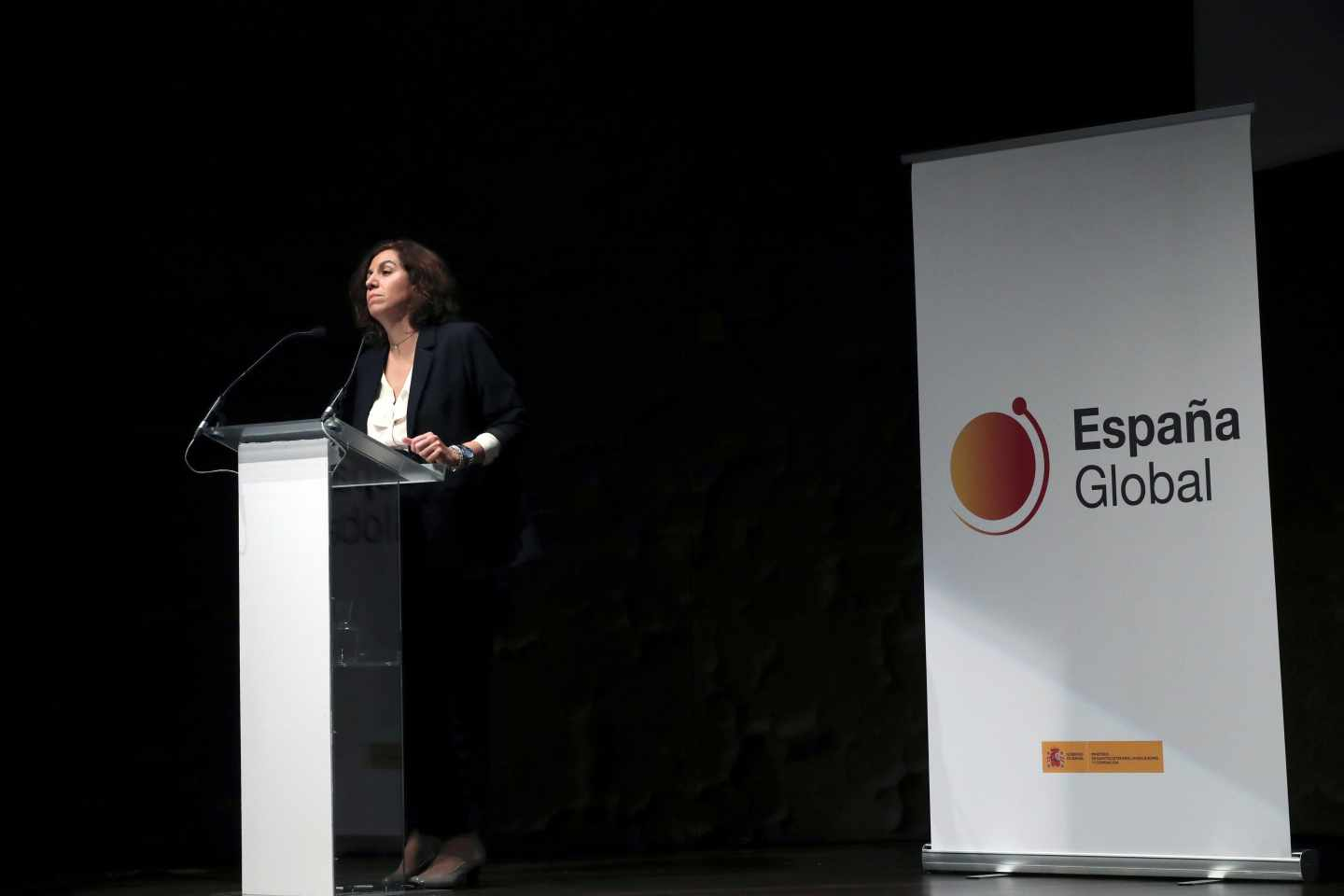 "La secretaria de Estado de la España Global, Irene Lozano, durante su intervención en la presentación del vídeo ""This is the real Spain""."