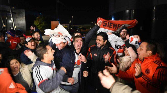 Aficionados del River Plate, en Madrid.