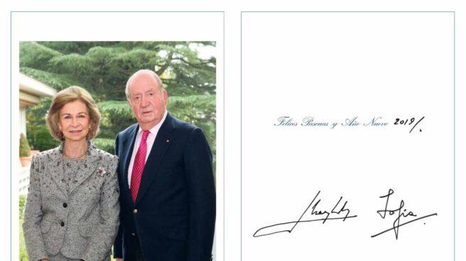 Los reyes eméritos, doña Sofía y don Juan Carlos, en la felicitación navideña.