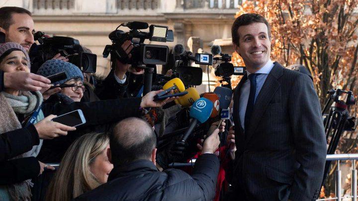 El líder del PP, Pablo Casado, este jueves en Bruselas