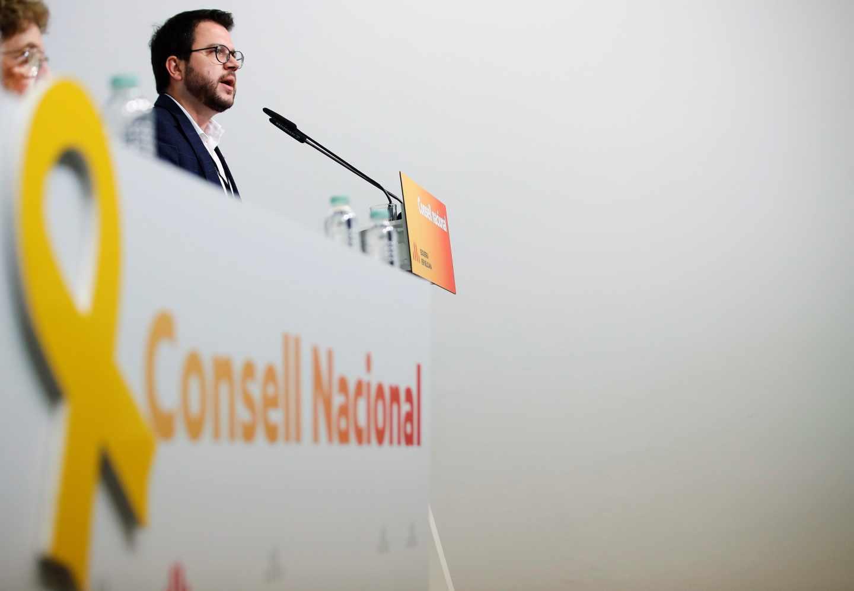 El vicepresidente del Govern y adjunto a la presidencia de ERC, Pere Aragonés, durante su intervención en el consell nacional de ERC, hoy en Barcelona.