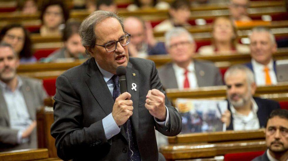 Quim Torra, presidente de la Generalitat, en el Parlament.