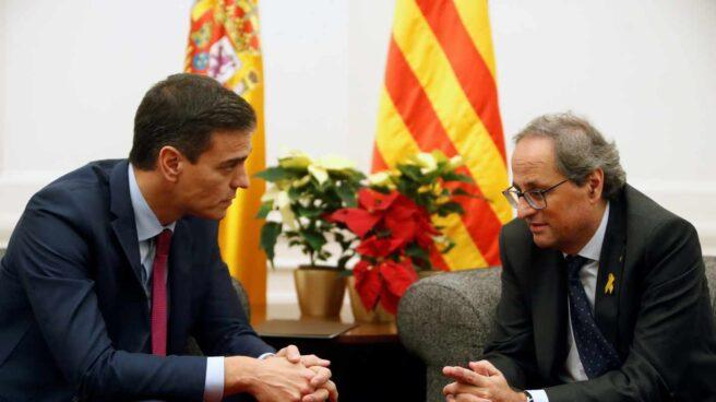 Sánchez y Torra, juntos en Pedralbes.