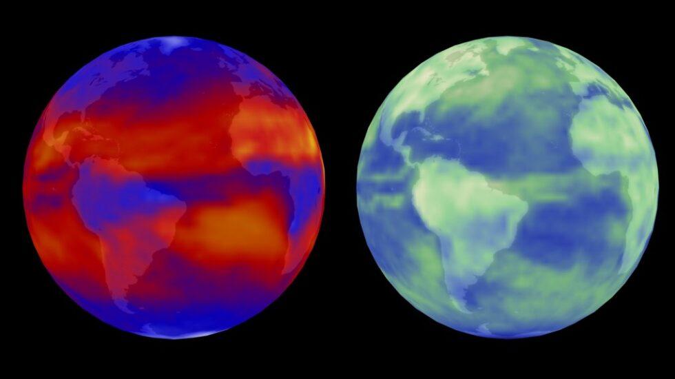 La Tierra, vista desde un satélite, emitiendo radiación infrarroja (izquierda) y reflejando la del sol (derecha).