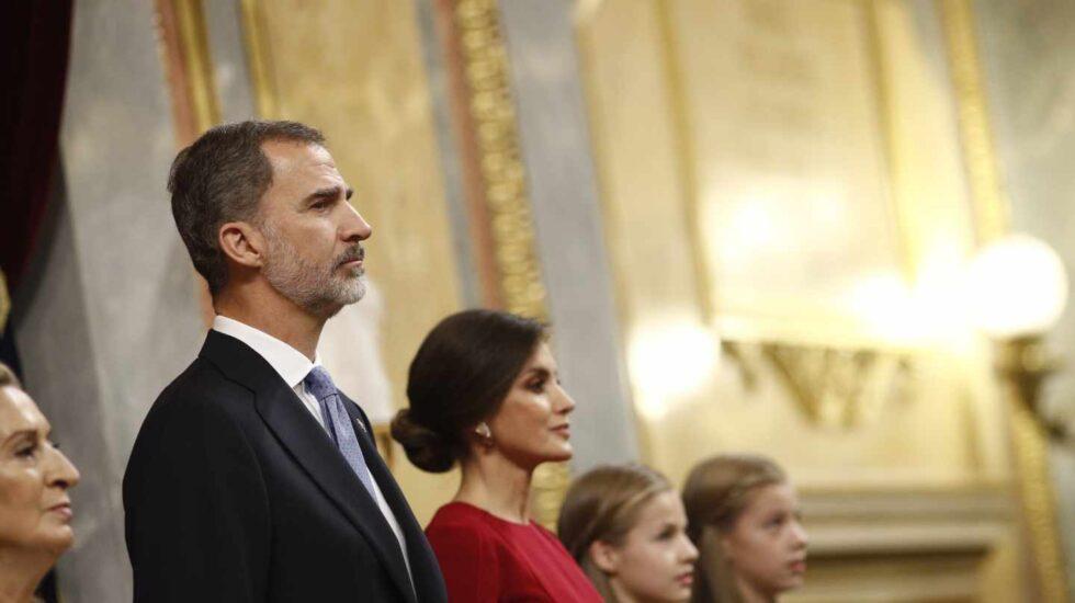 El Rey Felipe VI, junto a la Reina Letizia, en la solemne conmemoración del 40 aniversario de la Constitución.