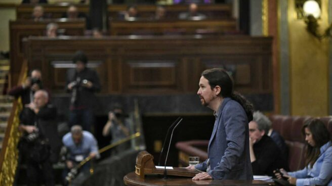 Pablo Iglesias, en la tribuna del Congreso.