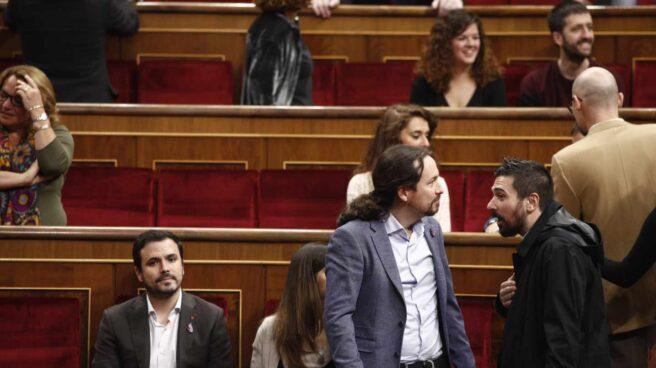 El líder de Podemos, Pablo Iglesias, en el Congreso el acto solemne conmemorativo del 40 aniversario de la Constitución.
