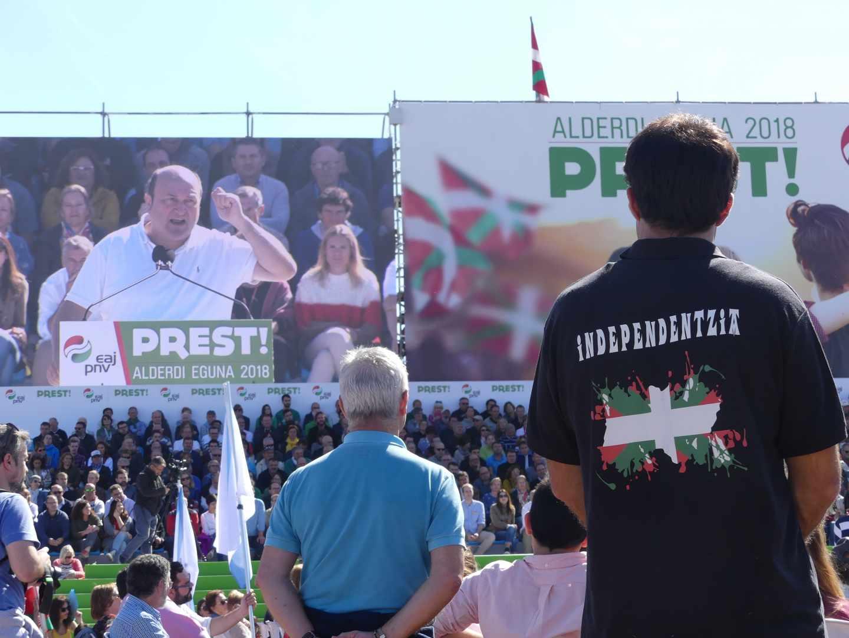 El presidente del PNV, Andoni Ortuzar, durante su intervenión en el pasado 'Alderdi Eguna' (Día del partido).
