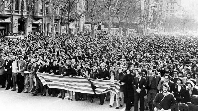 Manifestación en Madrid por la matanza de Atocha, en 1977.